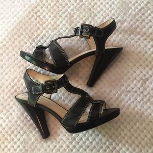 COACH Black Leather Sandals